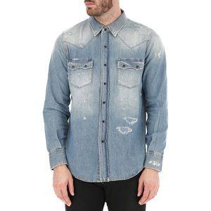 Saint Laurent Distressed Western Blue Denim Shirt